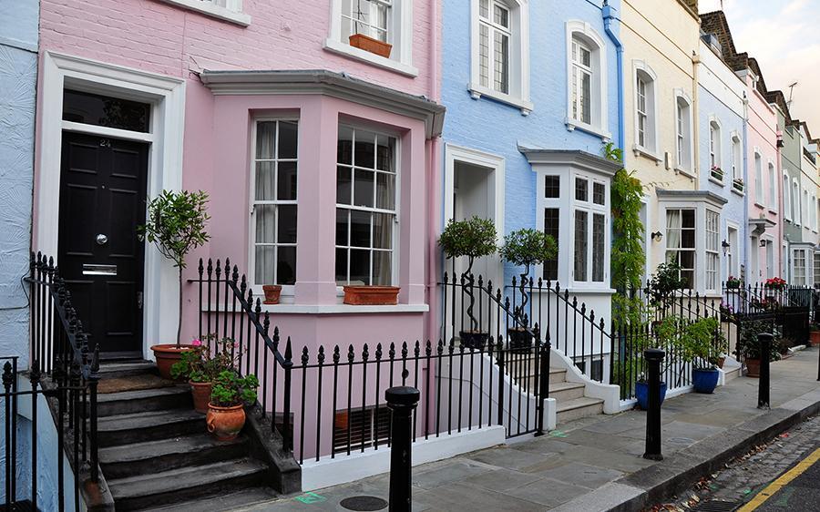 pretty painted pink house black door