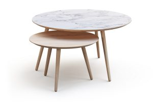 Two tables one with a marble effect