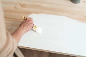 Chalk painting a table